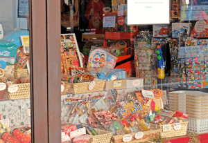 The windows give you a peek into the toy and candy store.
